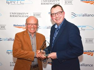 Andy Webb receiving award for best RRV supplier 2019